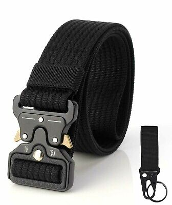 Tactical Belt Heavy Duty Military Nylon Quick-Release Metal Buckle W Keychain