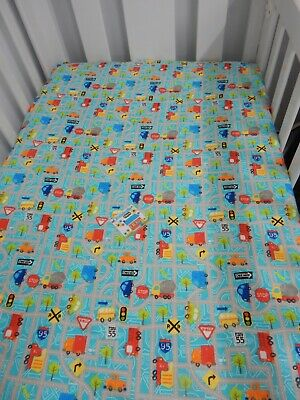 Flannelette Cot Fitted Sheet Cars Buses Trucks
