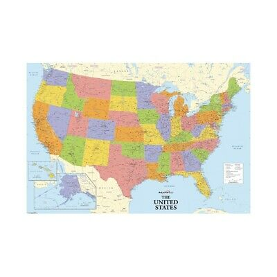 "24""x36"" Political USA Wall Map Poster Canvas Prints Home Office Decor"