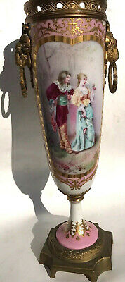 Antique French SEVRES Rams Figural Hand Paint Gold Raised Ormolu Vase Urn~Daly