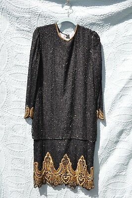 Vintage Silky Nites New York 100% Silk Beaded Sequins Dress With Overlays Size L