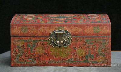 """6"""" Old Chinese lacquerware Wood Two Dragon play Bead storage Jewelry box Casket"""