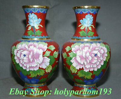 """10"""" Chinese dynasty Palace Copper Cloisonne Peony Flower Bottle Vase Pair"""