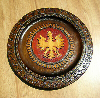 Vintrage Hand Carved Wood Bird w/ Crown Family CREST Wall PLAQUE PLATE ~ As Is