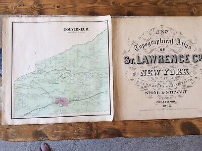 Gouverneur NY Authentic Map  Disbound From 1865 Topographical Atlas By SN Beers
