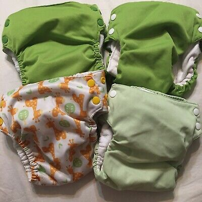 Swadlebees (2) & Basix (2) Cloth Pocket Diapers Lot Of 4 All Are Size Large