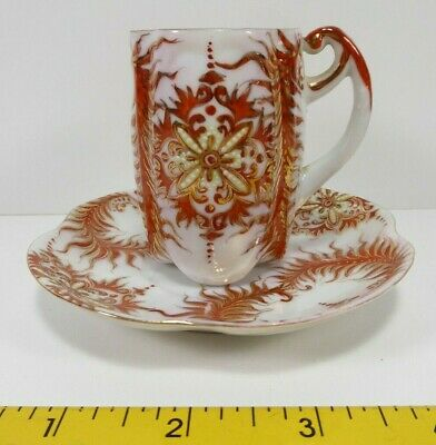 Eggshell Thin Porcelain Hand Painted Gold Red Small Tea Cup and Saucer