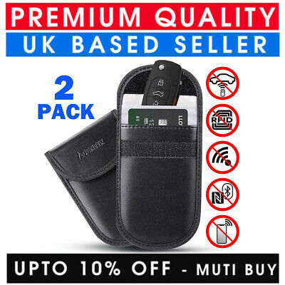 2X Car Key Signal Blocker Bag Faraday Cage Fob Pouch Keyless Rfid Blocking Case
