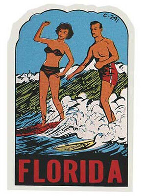 Florida  Couple Surfing    Vintage Style Travel Decal sticker Surf