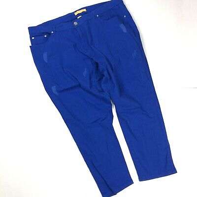 DKIN Womens Blue Ankle Crop Jeans Pants Lightly Distressed Size 24W ExCondition