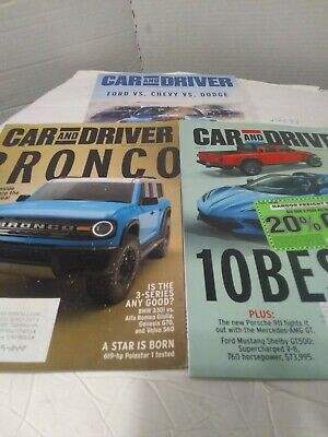 CAR AND DRIVER Magazine LOT of 3 January - February- March 2020 Issues Near New