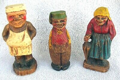 3 VINTAGE 1930-40's SYROCO WOOD FIGURES. Lady, Man & Baker