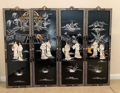 """Vintage Chinese Wall Art Panels 12""""x36"""" Set 4 Black Lacquer Mother of Pearl"""