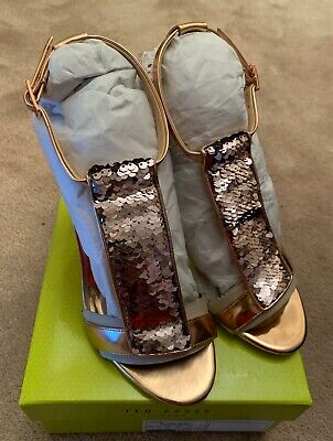 Ted Baker Womens Shoes Size 7 UK Rose Gold Sequence BNIB