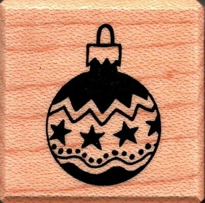 Happy Holidays CHRISTMAS ORNAMENT Wood Mounted Rubber Stamp STAMPENDOUS V097