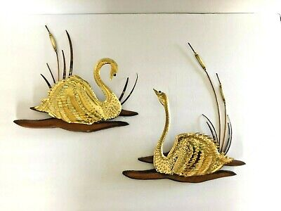 Vintage Mid Century Brass Wood Wall Hanging Pair Swans Decor