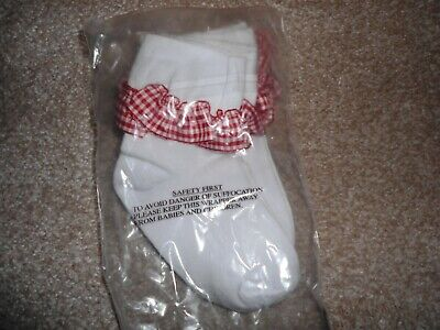 Girls 3 Pack Frilly Red Gingham Ankle Socks Size 6-8.5 Brand New