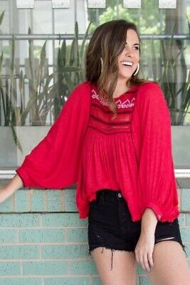 Free people Women's Size Large Cyprus Avenue Embroidered Top Color red