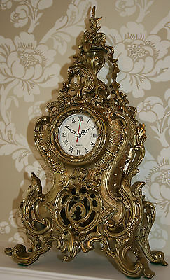 ANTIQUE Louis XV French Bronze Clock Gold/Gilt Ormolu Mantel Tall/Large Ornate