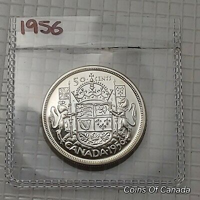 1956 Canada Silver 50 Cents UNCIRCULATED Coin - Great Eye Appeal #coinsofcanada