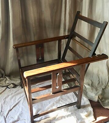 ARTS & CRAFTS Reclining WOOD Oak ARM CHAIR - stickley - Morris FOLDING