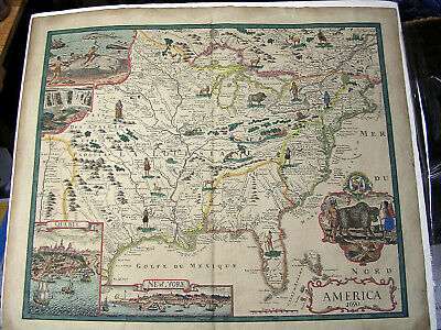 RARE! ANTIQUE HAND COLORED MAP OF AMERICA/CANADA DATED 1690 WATERMARKED French