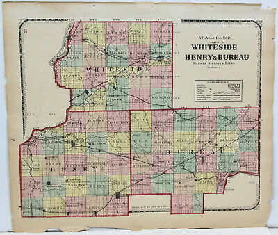 c1871 Color Map of Whiteside, Henry and Bureau Counties Illinois