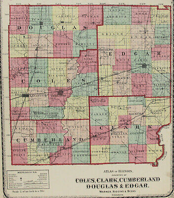 c1871 Color Map of Coles, Clark, Cumberland, Douglas & Edgar Counties Illinois