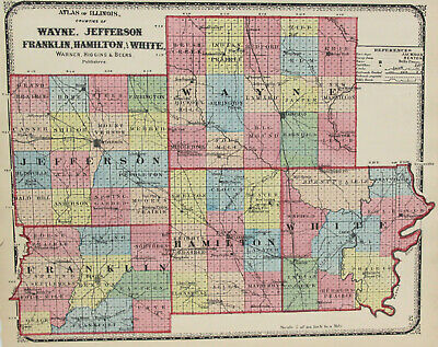 c1871 Color Map of Wayne, Jefferson, Franklin, Hamilton, White Counties Illinois