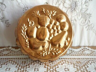 VINTAGE COPPER JELLY MOULD embossed with FRUIT SELECTION – ROUND SHAPE w HOOK