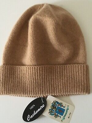 PORTOLANO EST. 1895 WOMENS One size 100% CASHMERE Soft med knitted Brown Beanie