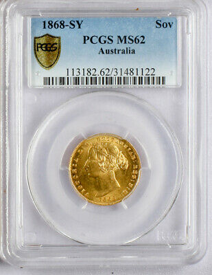 1868-Sy  Australia  Gold Sovereign. Pcgs  Ms 62.
