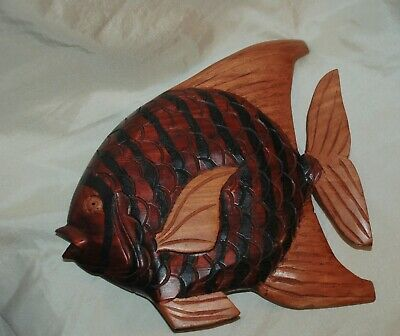 H/P Carved Wood Wooden Angel Tropical Fish Statue Sculpture 10 x11 sgnd Griffith