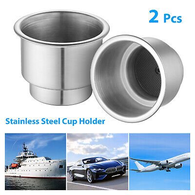 2PCS Stainless Steel Cup Drink Holders For Marine Boat Car Truck Camper RV Valid