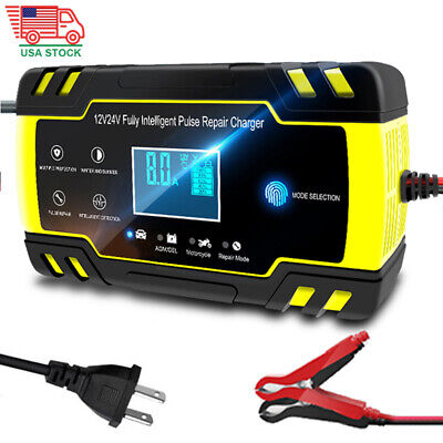 12V/24V Smart Car Battery Charger Touch LCD Boat Caravan Truck Battery Repair US