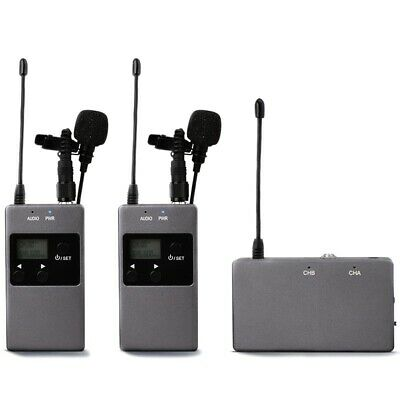 KW-M01 50-Channel UHF Professional Chargable Dual Wireless Lavalier Microph A2Z3