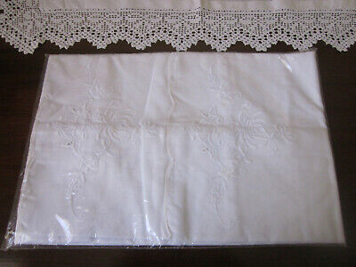 Pair Of Vintage Whitework Embroidered Pillowcases