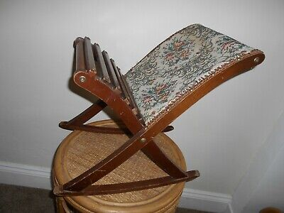 A French Vintage Tapestry Upholstered Gout Stool. A French Rocking Foot Stool