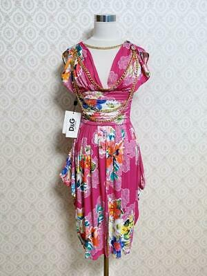 D & G DOLCE & GABBANA dress pink with Chain Size: M From Japan Free Shipping