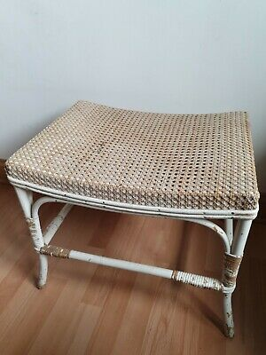 Vintage bergere cane top Piano Stool dressing stool distressed painted bentwood
