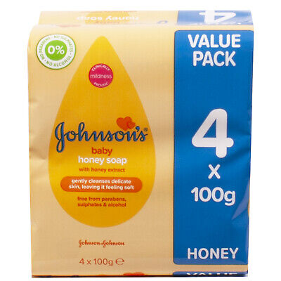 Johnsons' Baby Honey Soap 4 x 100g Pack Free From Parabens & Alcohol