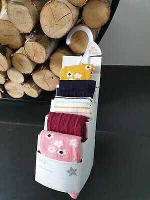 Baby Girls Cotton Rich Ankle Socks 5 Pairs  1-2 Years - New