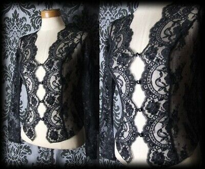 Gothic Black Sheer Delicate Lace SPELLBOUND Fitted Blouse 4 6 Vintage Victorian