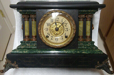 Antique Seth Thomas Adamantine Mantle Clock With Lions Heads *Running* C. 1908