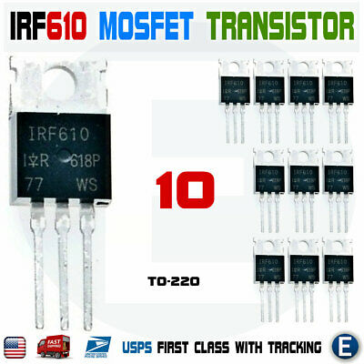 200V 50 PCS IRF610 TO-220 3.3A 1.500 Ohm Power MOSFET