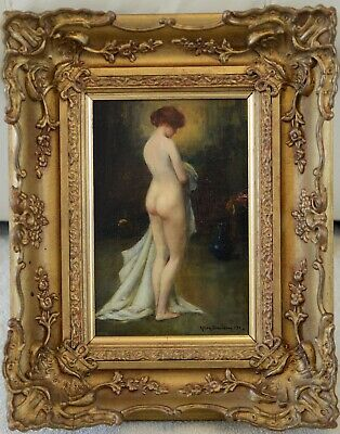 Fine Antique 19th / Early 20th Century Portrait Of A Nude Oil Painting DAVIDSON