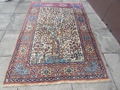 Antique Vintage Hand Made Traditional Oriental Wool White Blue Rug 217x146cm