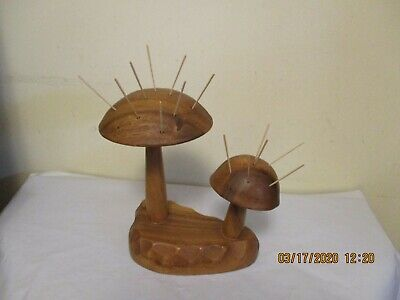 Vintage Wood Monkey-Pod MUSHROOMS Toothpick Holder For Appetizers by DOLPHIN