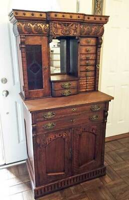 antique 1890s OAK DENTAL CABINET W/ STAINED GLASS  & SIDE LOCK  * RARE*