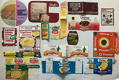 30 VINTAGE Early 1970's FOOD/CAN/PACKAGE/GROCERY STORE LABELS Chocolate/Cake